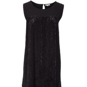 Sleeveless velvet shift dress